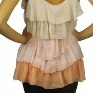 Tops - NWT Coral Ombre Ruffle Cami Tunic Size S